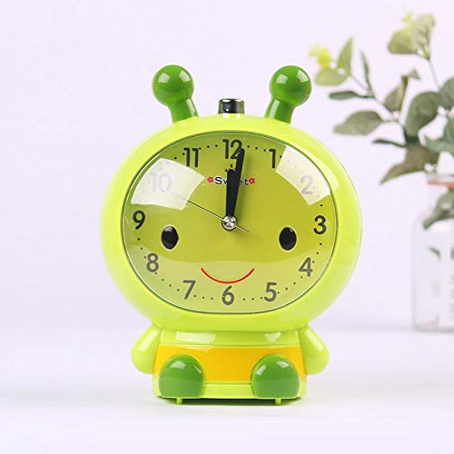 JJIAOJJ Reloj despertador para estudiantes con dibujos animados lindos niños, reloj despertador especial para dormitorio con personalidad perezosa para hablar, color rosa (color: verde)