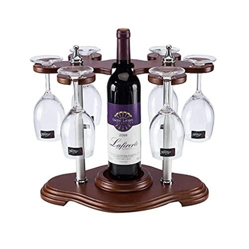 DAKEUR Estante de Vino de Madera para Mesa, Organizador de Almacenamiento de estantes de Vino para encimera, con Soporte de Copa de Vino, para decoración del hogar, Estante de Almacenamiento de COC