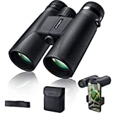 Binoculars for Adults 10x42 BAK-4 Roof Prism FMC Lens, HD Compact Durable Binoculars for Birdwatching Hunting Hiking and Traveling with Carrying Bag and Strap RIVMOUNT