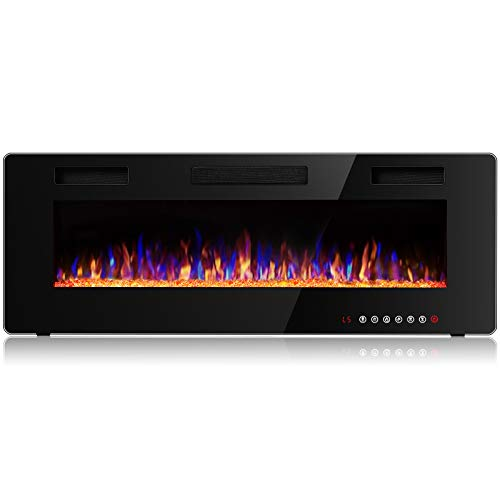 Vitesse 50 inch Wall Mounted and Recessed Electric Fireplace, Adjustable Flame Color and Speed Fireplace Heater Fit for 2 x 4 and 2 x 6 Stud with Touch Screen Control Panel, Remote Control