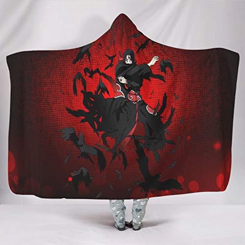 Hothotvery Manta con capucha con estampado Anime japonés, Itachi, nubes, con capucha, unisex, para Navidad, para adultos, color blanco, 130 x 150 cm