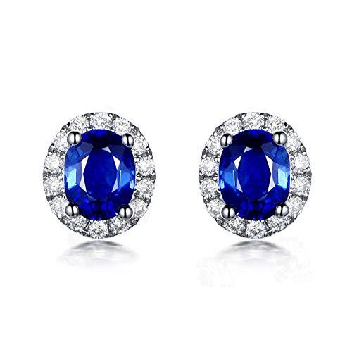 Beydodo Pendiente Mujer Plata Azul,Pendientes de Oro Blanco 18 Kilates Oval con Diamante Zafiro Azul 1.12ct