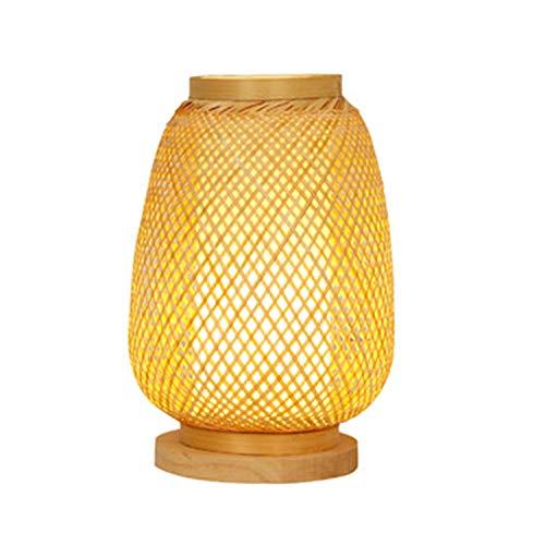 Ye Wang Handgemachte Bambus Tischlampe japanische Rattan Laterne Desktop Lampe rustikale Schreibtischleuchte Korb Lampenschirm Studie Schlafzimmer Wohnzimmer Nachttischlampe Leselampe E27