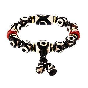 Prime Fengshui Tibetische Dzi-Perlen-Armband mit Amulett-Armreif, schwarz und weiß, zieht positive Energie und Glück an.