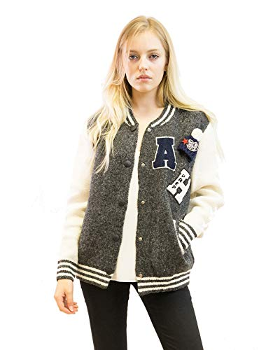 Lady knitted bomber cardigan style wool blend jacket with embroidered and patch sport cusual wear