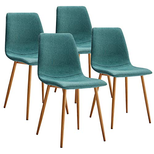 VECELO Side Chairs Fabric Cushion Seat Back Sturdy Metal Legs for Dining/Living Room, Set of 4, Green