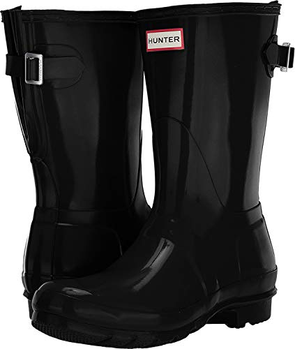 Hunter Women's Original Back Adjustable Short Gloss Rain Boots Black 5 M US