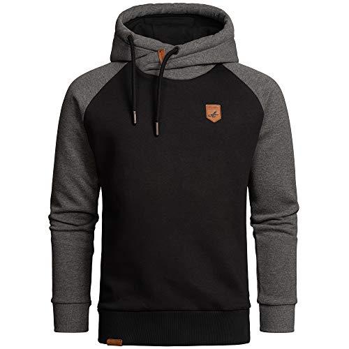 Amaci&Sons Herren Basic Kapuzenpullover Sweatjacke Pullover Hoodie Sweatshirt 4053 Schwarz/Anthrazit M