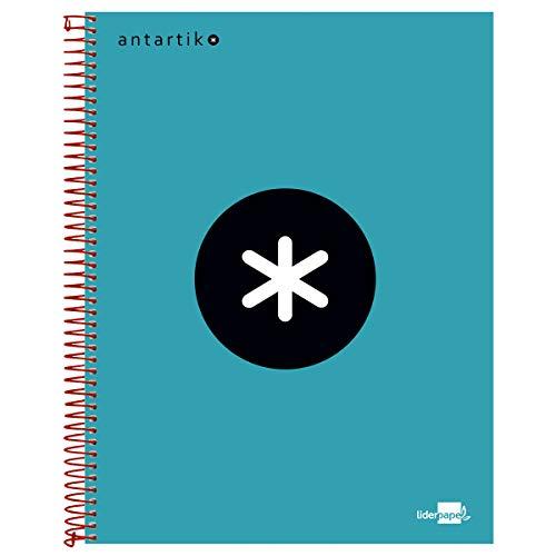 Liderpapel Cuaderno Espiral A4 Micro Antartik Tapa Forrada 120H 100 Gr Cuadro 5 Mm 5 Bandas 4 Taladros Color Turquesa