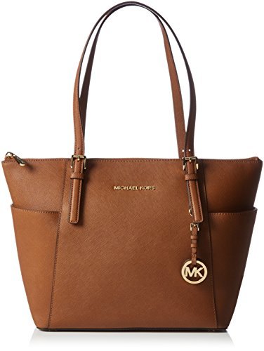 """MICHAEL Michael Kors Leather bag Double handles with 9-1/2"""" drop Top zip clsoure Gold-tone hardware; 2 side slip pockets; signature plaque at front; detachable logo charm Interior features zip pocket, 4 slip pockets and key fob 15-1/2"""" W x 10"""" H x 4-..."""