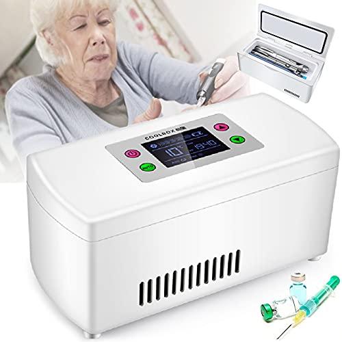 GGMWDSN Nevera Portatil Insulina, Caja Refrigerada PortáTil Pantalla LCD Refrigerador de Medicamentos Refrigerador de Drogas 2-8 ° C (BateríA Incorporada),2battery
