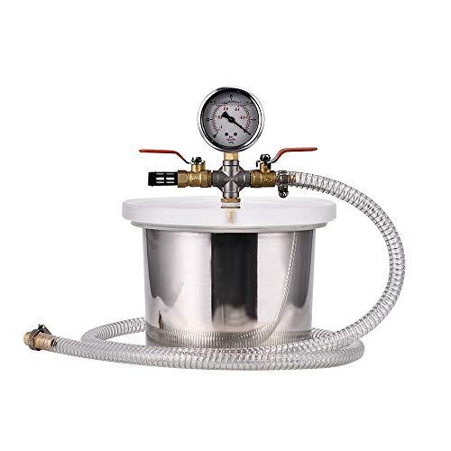 S SMAUTOP 3,63 L Vakuumkammer Edelstahl mit Silikondichtung mit Manometer HVAC Zum Entgasen von Urethan, Silikonen, Extrahieren von ätherischen Ölen