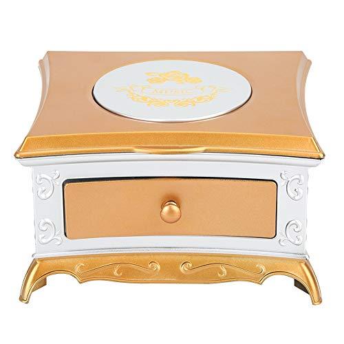 Operalie Caja de música, decoración del Ornamento del hogar del Regalo de la Caja de Almacenamiento de la joyería del Juguete de la Caja de música del Baile(Blanco Plateado)