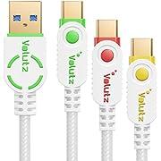 Volutz USB C Kabel – Typ C auf USB 3.0, Nylon ummantelt (2m,1m,0,3m) - Weiß Farb kodiert - 3er Pack