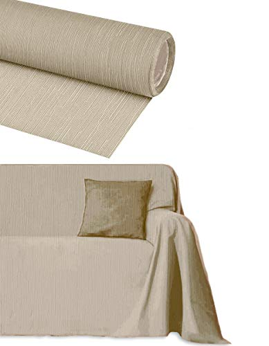 Byour3® Funda De Sofá Algodón 3 4 5 Plazas Granfoulard Tela Sofa Cubre Todo Protector De Sofás Forma de L U Chaise Longue Derecho Izquierdo Lavable (Jengibre, 3 plazas 260x275 cm)