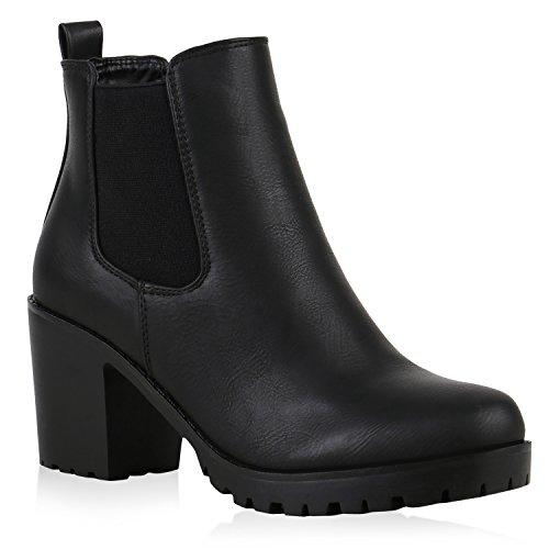 Damen Stiefeletten Chelsea Boots Profilsohle Schuhe 122262 Schwarz Brito 39 Flandell