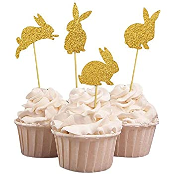 Easter Craft Birthday Glitter Rabbit Cake Decor Cupcake Toppers Picks Card