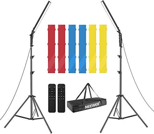 Neewer 2-Pack Luz Video 210 LED Bicolor Regulable Kit Iluminación Varilla Luz 21W 3200-5600K con Soporte y Control Remoto por Infrarrojos Filtros Color y Bolsa Transporte (Baterías No Incluidas)