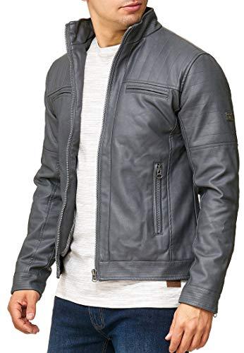 Indicode Caballeros Brook Chaqueta De Imitación Cuero Cuello Alzado | Piel Sintética Cómodo para Motero Entretiempo Men Faux Jacket Cool Hombres En Raven S