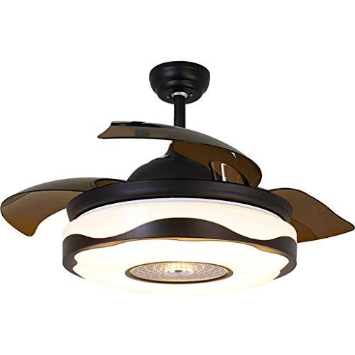 Lámpara de araña con lámpara LED, ahorro de energía, moderno mando a distancia invisible, apto para sala de estar, dormitorio, sala de estar, silencioso, ventilador de techo, color