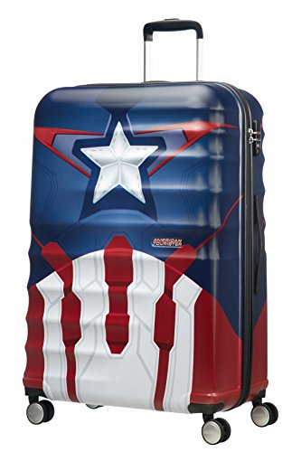 American Tourister Wavebreaker Disney - Spinner L Koffer, 77 cm, 96 L, Mehrfarbig (Captain America Close-Up)
