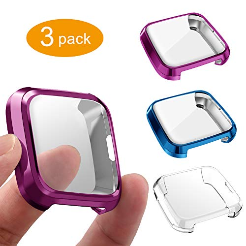 3 Packs Screen Protector Compatible Fit bit Versa Lite Edition, GHIJKL Ultra Slim Soft Full Cover Case for Fit bit Versa Lite Edition, Crystal Clear, Blue, Purple