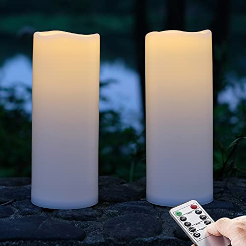 10cm X 25cm Outdoor Stück LED im Freien Wasserdichte Kerzen, Batteriebetriebene Plastikkerze mit Fernbedienung/Timer-Funktion (Warmweißes Licht) - 2er-Set