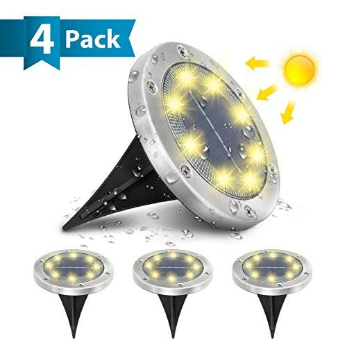 AMBOTHER Solar Bodenleuchten, 8 LEDS Solarleuchten Solarlampen Gartenleuchten für Außen, 3000K Warmweiß Solarlicht Garten Licht, IP65 Wasserdicht für Rasen, Patio, Hof, 4er Pack