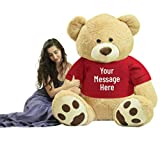 Custom Personalized Big Plush Giant 6 Foot Teddy Bear Soft Wears Tshirt That You Design, Weighs 22 Pounds - 72-inches Tan Color