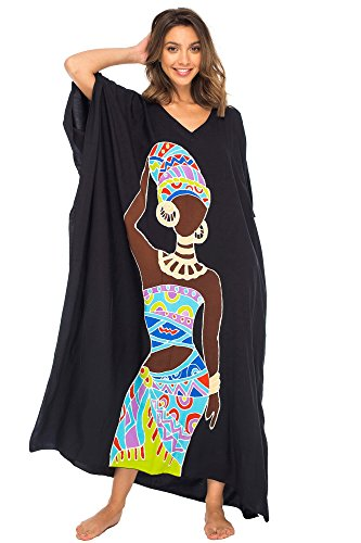 Back From Bali Womens Beach Swimsuit Cover Up Caftan Poncho Long Africa Black Dancer Black
