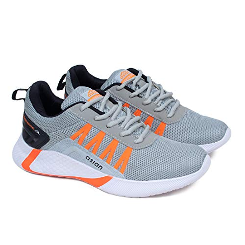 ASIAN Men's Bouncer-01 Grey Sports Latest Stylish Casual Sneakers,Lace up Lightweight Shoes for Running, Walking, Gym UK-8