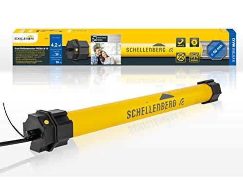 Schellenberg 21210 Rolladenmotor mit Funk neue Generation, 10 Nm, bis 4,2 m² Fläche, für 60 mm Rolladenwellen 868,4 MHz Funkfrequenz, Smart steuerbar u.a. mit Alexa und Google Home, Gelb