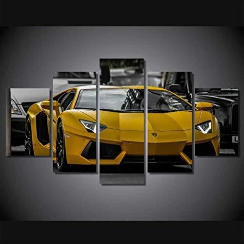 6Lv5Panel Impresiones sobre Lienzo Amarillo Lamborghini Sport Car 5 Panel Lienzo Wall Art Home Decor Poster Print-150 * 80Cm-Enmarcado