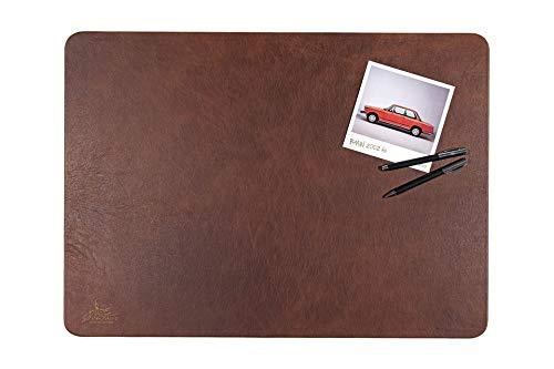 Centaur Schreibtischunterlagen 40x60 cm handgefertigt in Deutschland Schreibunterlage aus Leder Ecken abgerundet rutschfest braun nussbraun weitere Farben & Größen