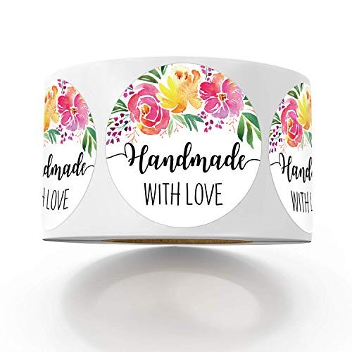 Floral Handmade with Love Stickers, 1.4 Inches Round Total 500 Adhesive Labels Per Roll, Handmade Packaging, Homemade with Love Stickers, Baked with Love Stickers.