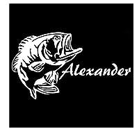 MDGCYDR 車 ステッカー 17Cm * 9.6Cm Alexandv Bassfishパーソナライズされたビニールデカールカントリーアートカーステッカーブラック/シルバー