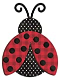 HAPPY DEALS ~ Metal Embossed Polka DOT Ladybug 12 x 9.25 inch | Wreath Embellishment Accent Sign or Wall Hanging