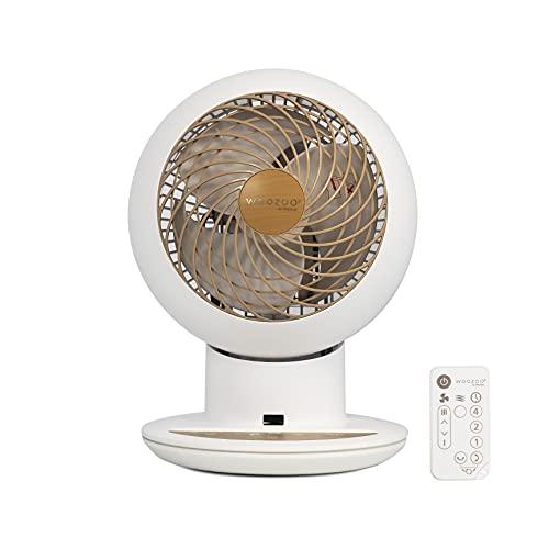 Iris Ohyama 531529 Ventilador de mesa potente y silencioso con control remoto, Temporizador, Oscilación multidireccional, 30m², 38W, Blanco mate/Aspecto madera, 21 x 21 x 29 cm