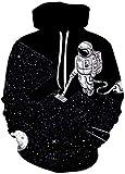 ZJIIXON Blanco y Negro Clean Up The Universe Sudaderas con Capucha Unisex en 3D para Estudiantes Hip-Hop Divertido Jersey Estampado Bolsillos con Capucha Pareja Uniforme de béisbol-As_Shown_S