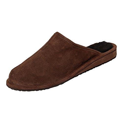 Hollert Herren Lammfell Hausschuhe BODO BRAUN Pantoffeln 100% Merino Schaffell Echtleder Wohlgefühl atmungsaktiv Schuhgröße EUR 45