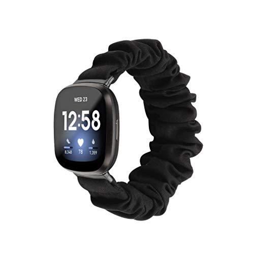Chofit Correas compatibles con Fitbit Versa 3, banda de chifón de satén para mujer para Fitbit Sense/Versa 3 Smartwatch (pequeño, negro)