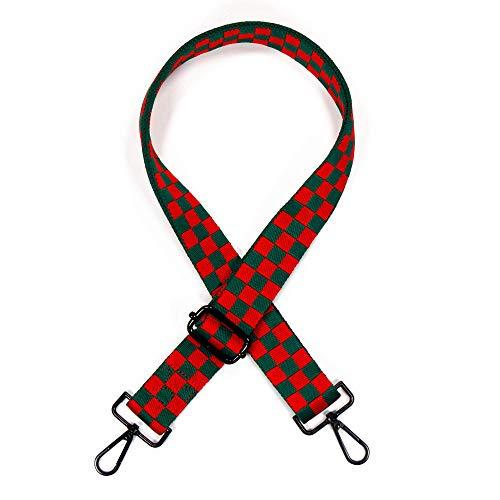 Teeoff Crossbody Handtaschengurt, breiter Schultergurt, verstellbarer Ersatzgürtel, Gitarren-Stil, rotem Karo (Rot) - C9-P655-KHET