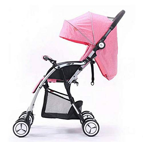 Find Discount Baby Trolley Light Aluminum Alloy Four-Wheeled Cart Three Folding Backpack Pram Pink