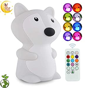 ATOMFIT LED Nursery Night Lights for Kids: Cute Animal Silicone Baby Night Light with Touch Sensor and Remote – Portable and Rechargeable Infant or Toddler Cool Color Changing Bright (Fox)