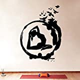 Yoga pared calcomanía círculo Zen meditación budista pájaro pared pegatina vinilo Yoga estudio decoración hogar dormitorio decoración Mural