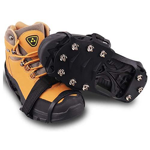 Pendientes De Tracción De Hielo Publillas Crampones Zapatos Antideslizantes Pinza, 10 Dientes Acero Inoxidable Silicona Duradera sobre Zapato Ajuste para Caminatas Pesca Al,L:39~45