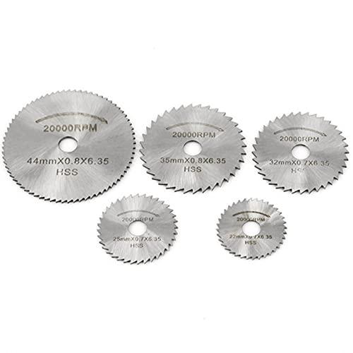 Totkakka Mini hoja de sierra circular Hss Disco de corte Herramienta de perforación giratoria Accesorios para madera, plástico y aluminio - Plata