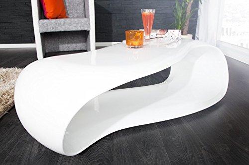 DuNord Design Couchtisch weiß Hochglanz modern Sofatisch Gravity 110cm Fiberglas Design Lounge Tisch