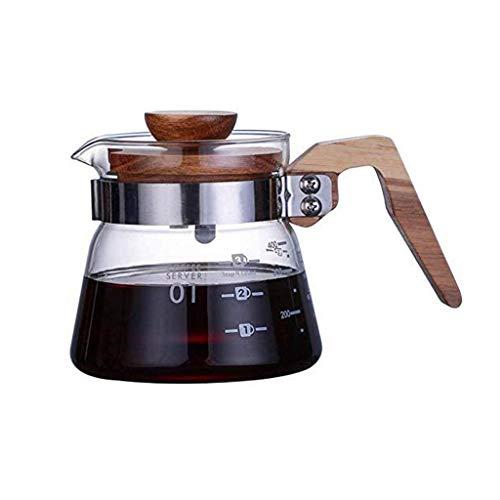 YWSZJ Elegante y práctico más Claro sobre Café Jarra con la Tapa del pote del café Vidrio borosilicato Marcas de medición, manija de Madera