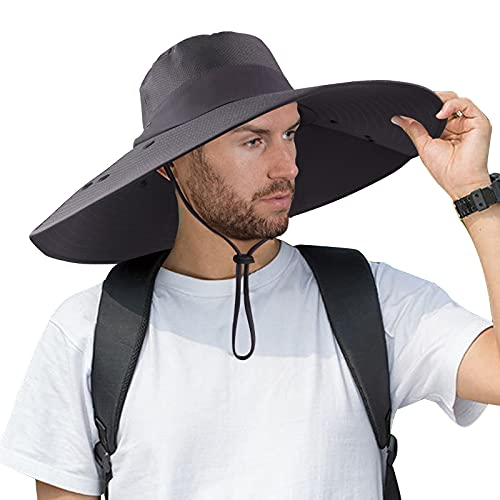 Super Wide Brim Fishing Hat, UPF 50+ Sun Protection Safari Hat with Removable Neck & Face Flaps Foldable Boonie Hat for Men Dad Gardening Hiking Camping (Dark Grey)